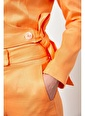 Setre Güneş Turuncusu Kruvaze Crop Ceket Yüksek Bel Pantolon Takım Oranj